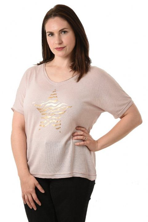 DUSKY PINK & GOLD ANIMAL PRINT STAR TOP